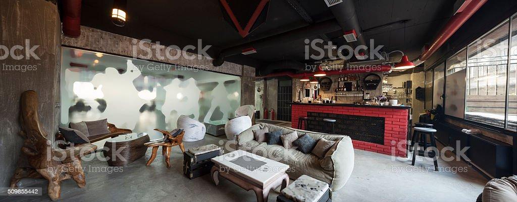 modern bar interior panorama stock photo