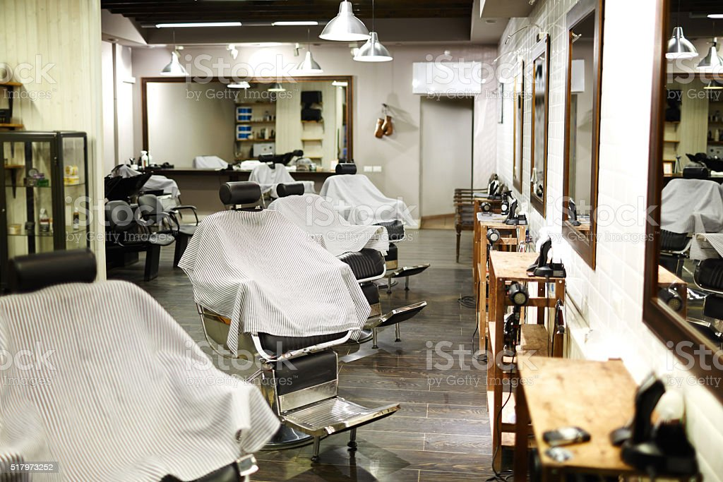 Modern barbershop stock photo