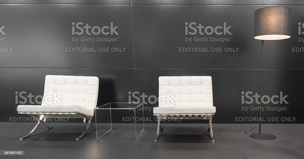 Modern Barcelona design chairs and lamp stock photo