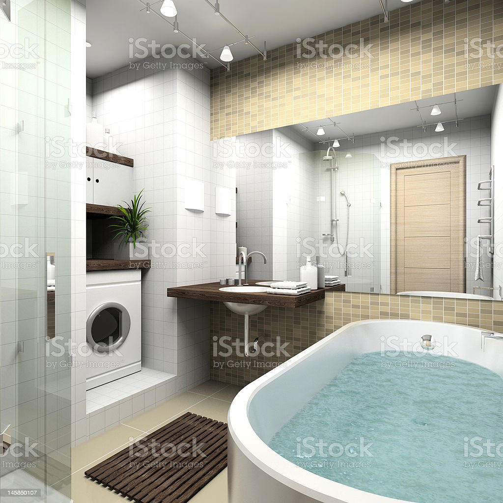 Modern bathroom. 3D render royalty-free stock photo