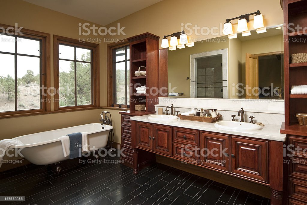 Modern bathroom claw foot bathtub stock photo