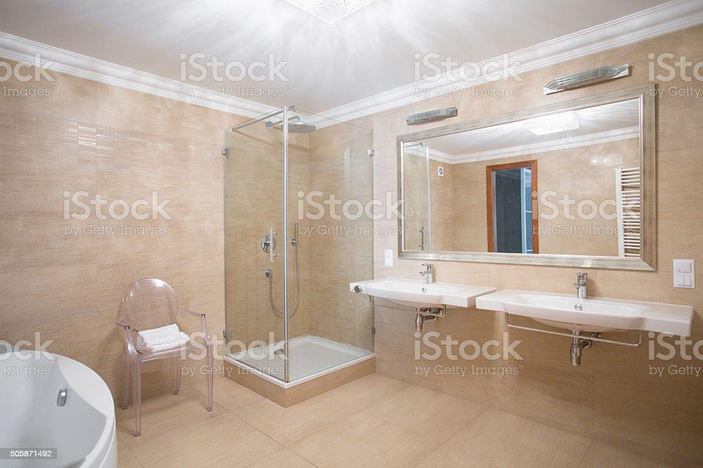 Modern bathroom for couple stock photo