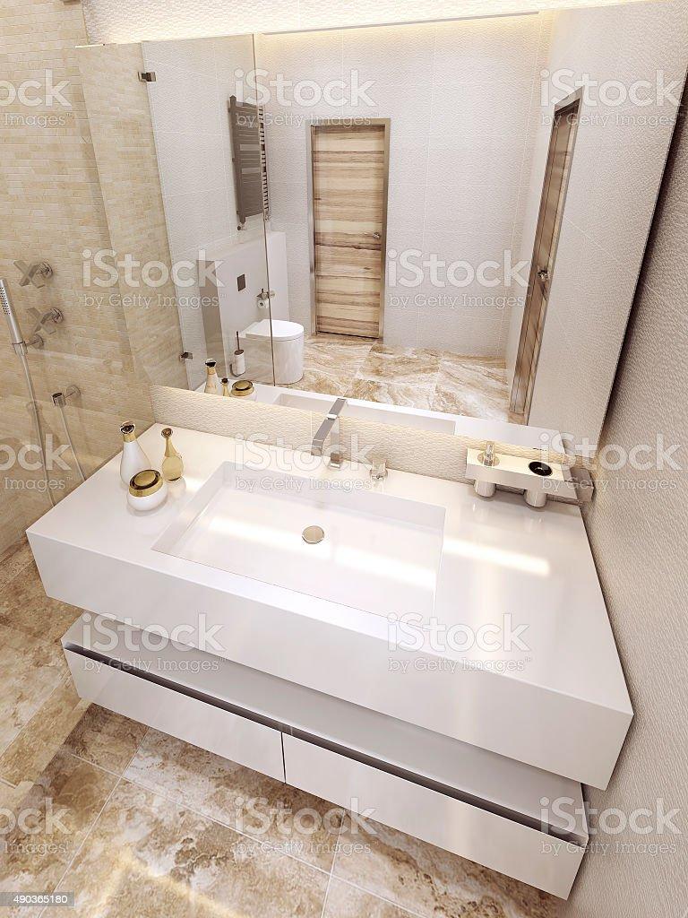 Modern bathroom in 5 star hotel. stock photo