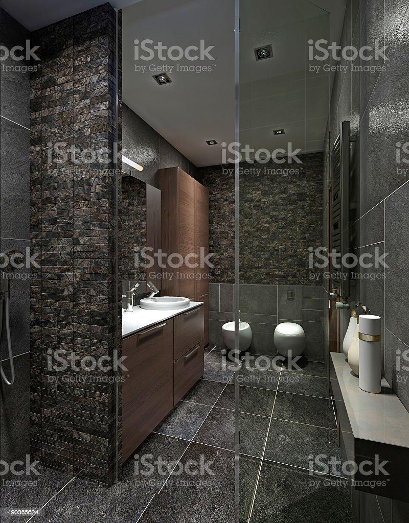 Modern bathroom in black tile. stock photo