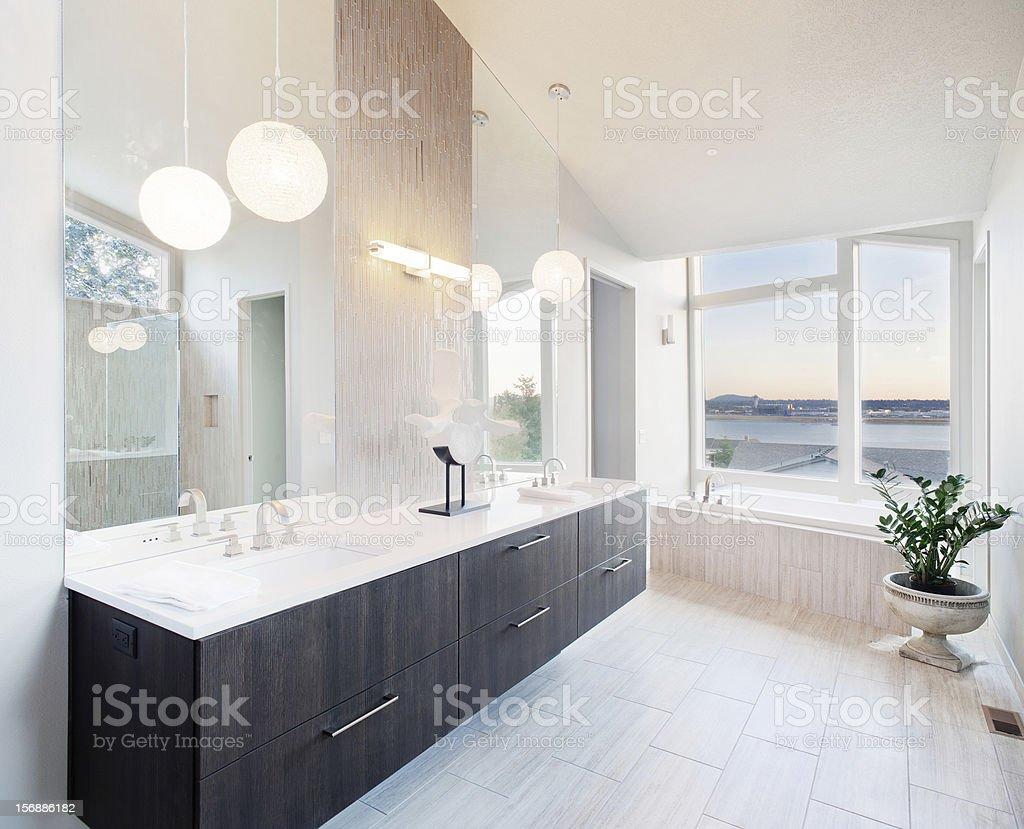 Modern bathroom in luxury home stock photo