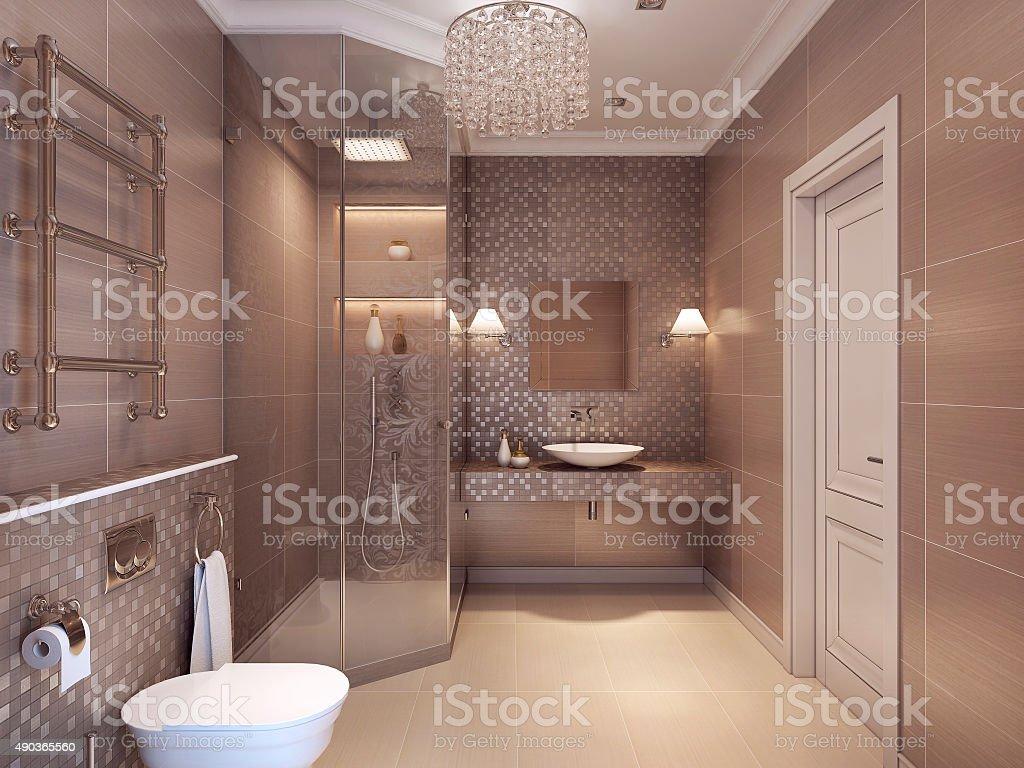 Modern bathroom in the art deco style. stock photo