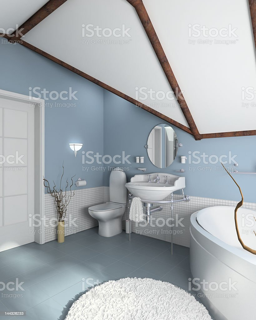 A modern bathroom in white with light blue walls and floor royalty-free stock photo
