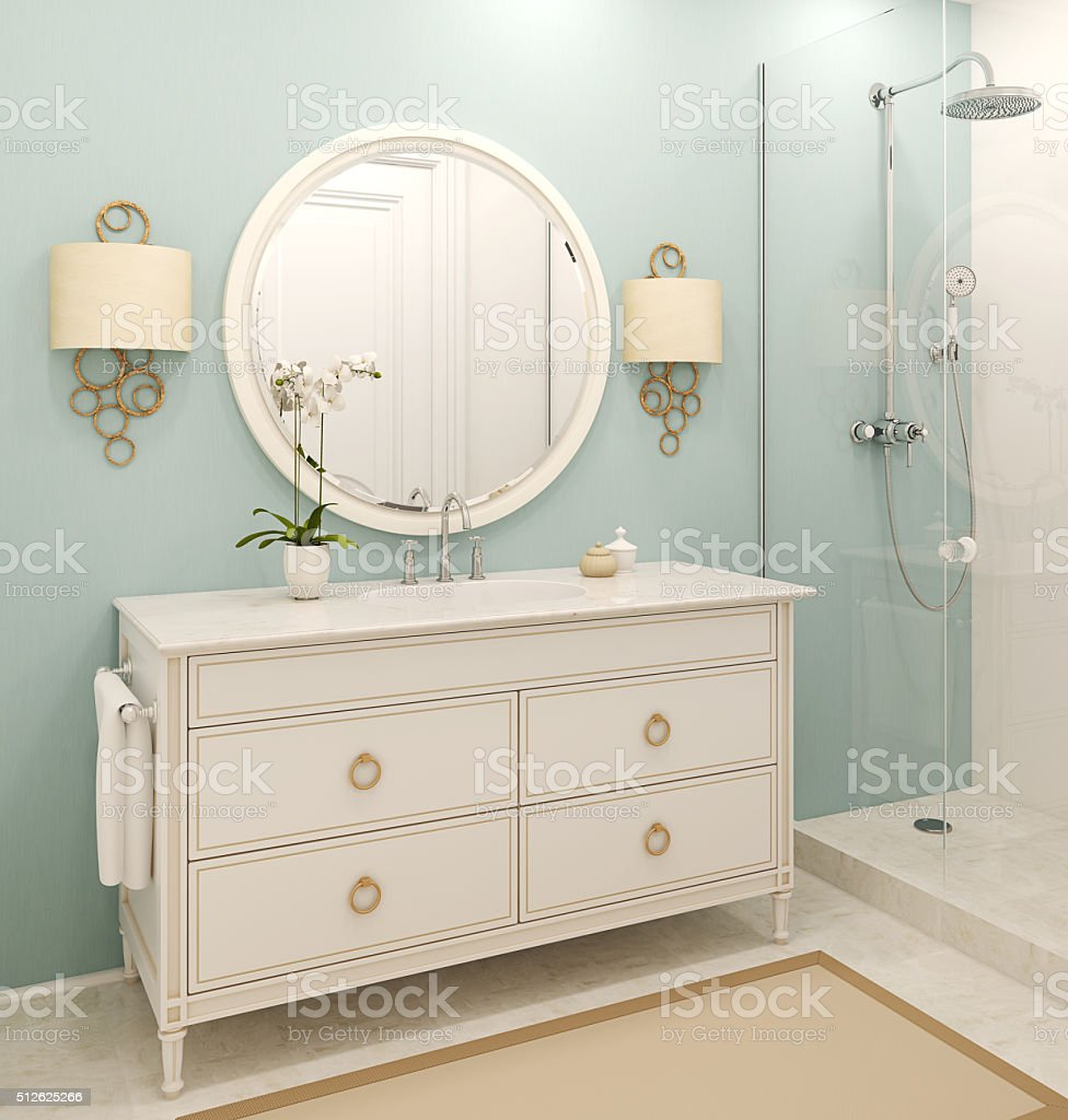 Modern bathroom interior. 3d rendering. stock photo