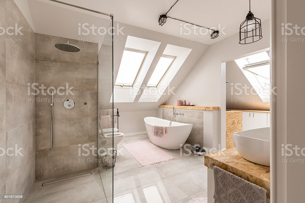 Modern bathroom interior with minimalistic shower stock photo