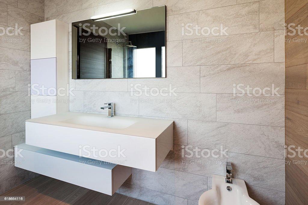 Modern bathroom of a new apartment stock photo