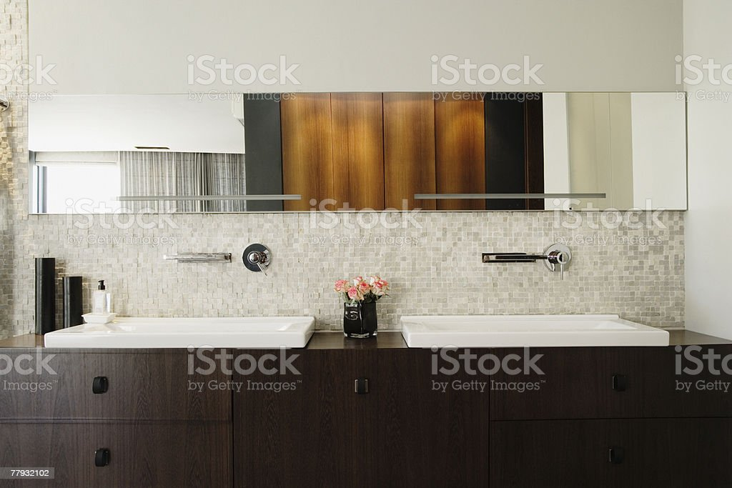 Modern bathroom vanity stock photo