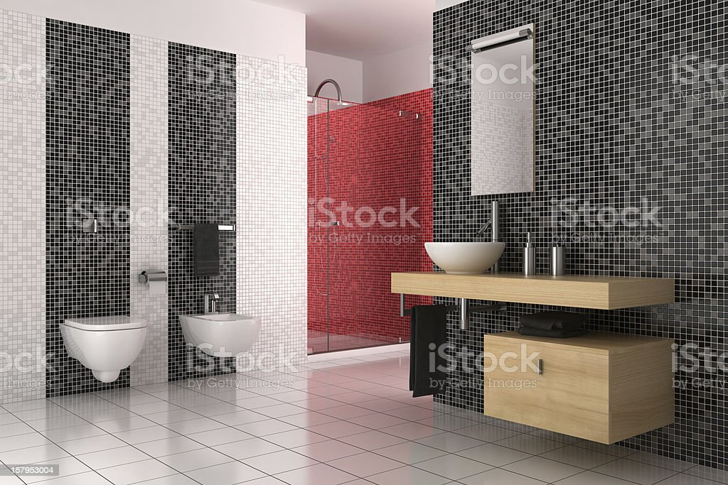 modern bathroom with black, red and white tiles royalty-free stock vector art