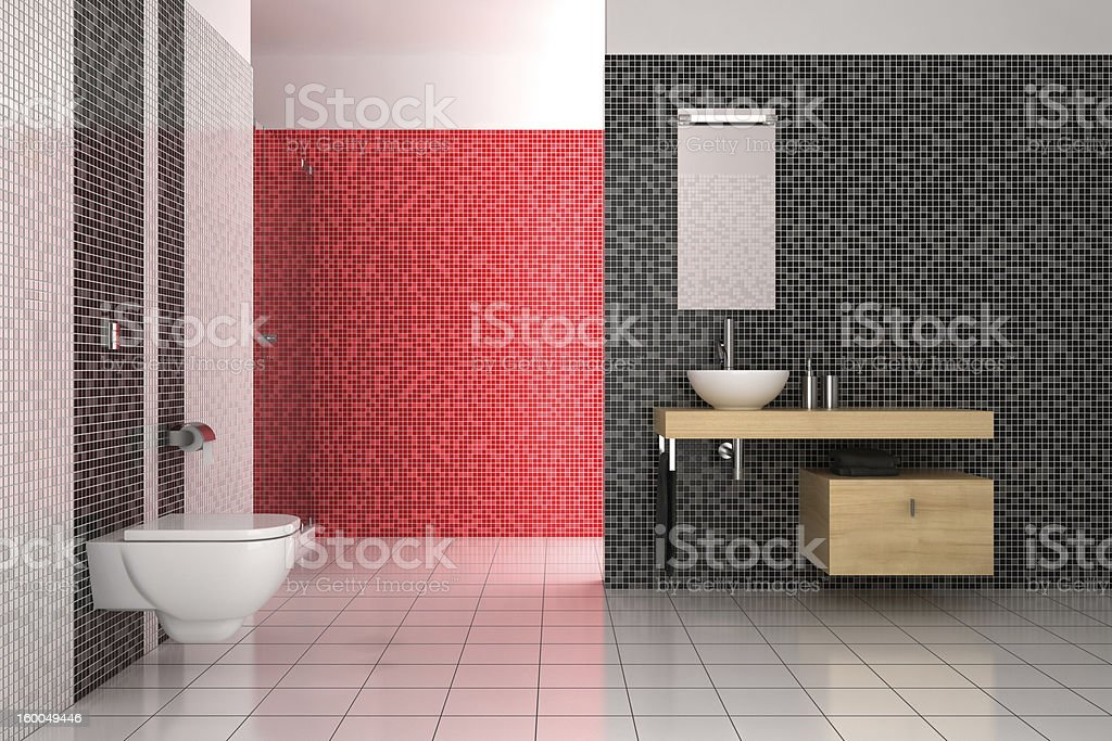modern bathroom with black, red and white tiles royalty-free stock photo
