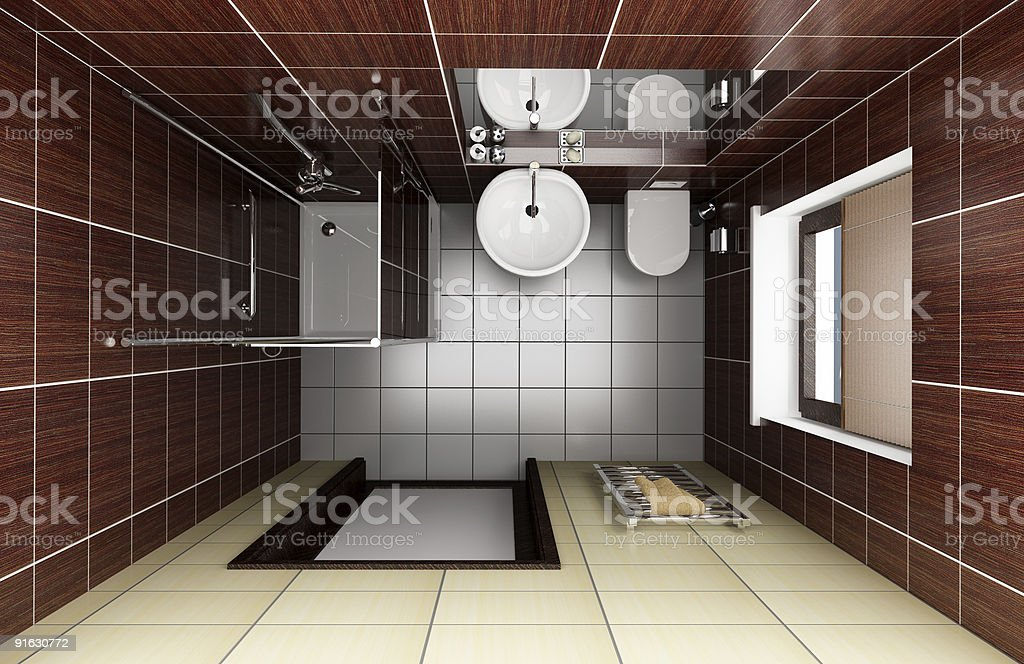 modern bathroom with brown tiles. top view royalty-free stock photo