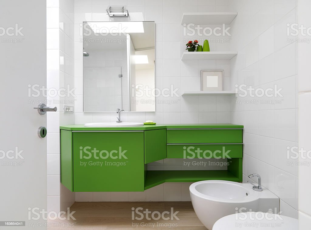 modern bathroom with colorful furniture royalty-free stock photo