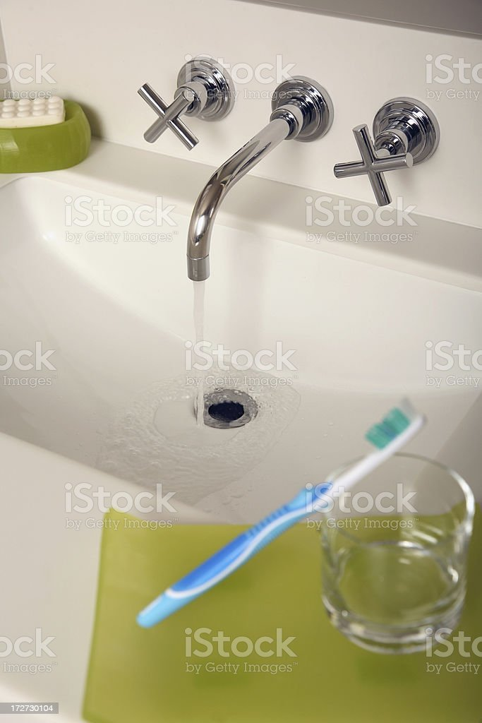 Modern Bathroom with cool faucet  toothbrush and soap dish royalty-free stock photo