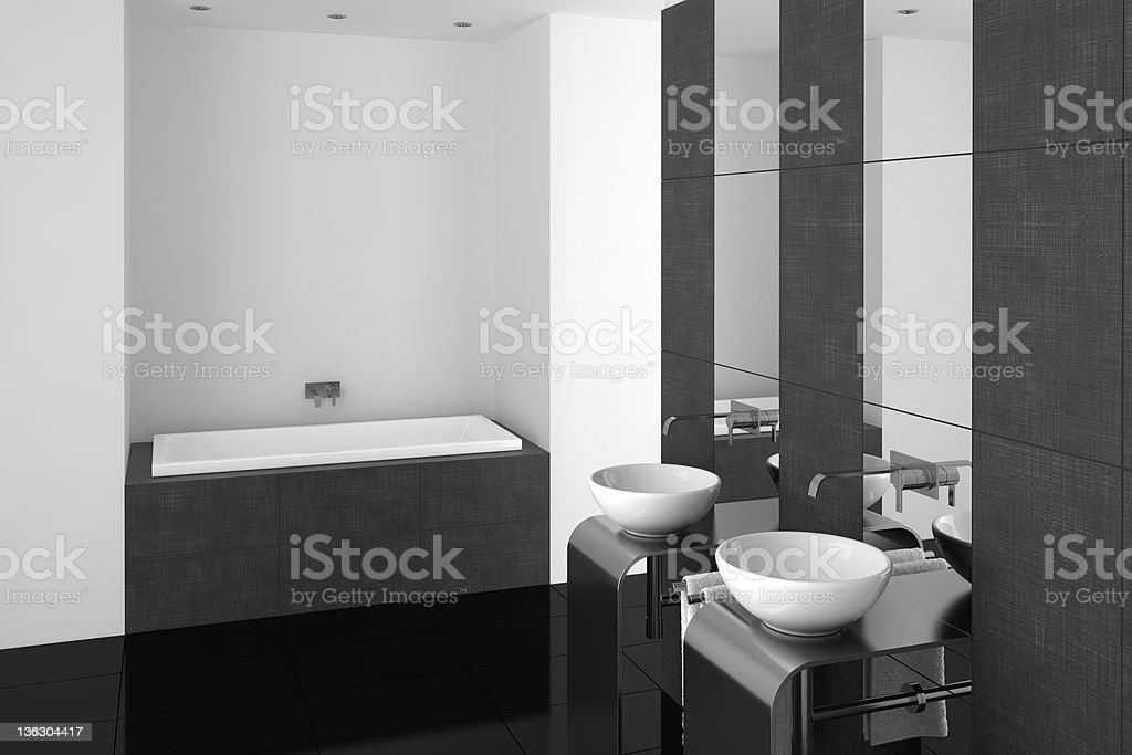 modern bathroom with double basin and black floor royalty-free stock photo