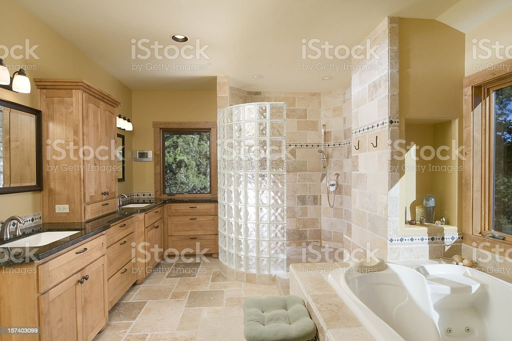 Modern bathroom with large, open shower,  jet tub stock photo