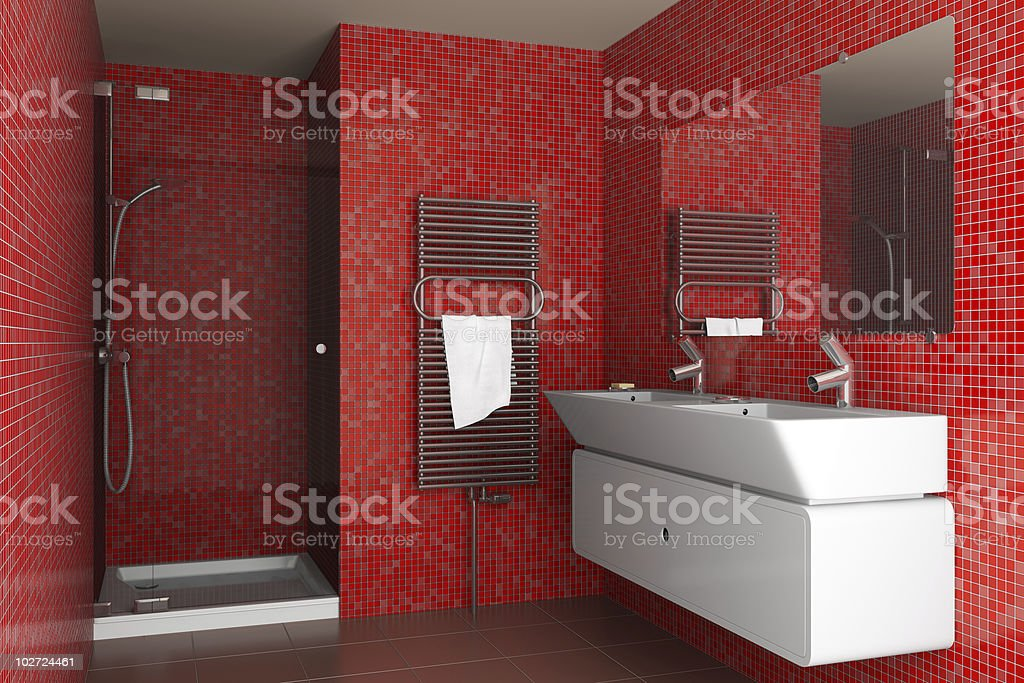 modern bathroom with red mosaic tiles on wall royalty-free stock photo
