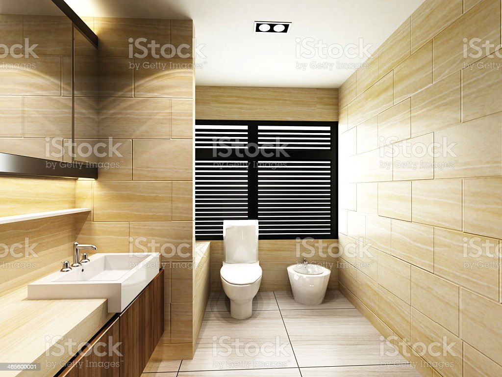 Modern, bathroom with sand colored tiles stock photo