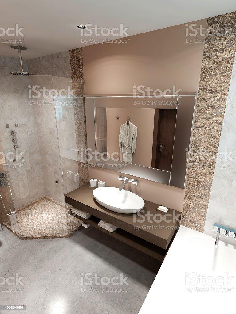 Modern bathroom with shower. stock photo