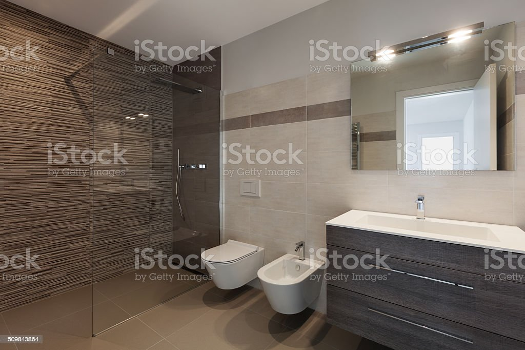 modern bathroom with shower stock photo