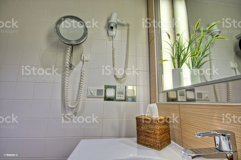 Modern bathroom with  sink and mirror royalty-free stock photo