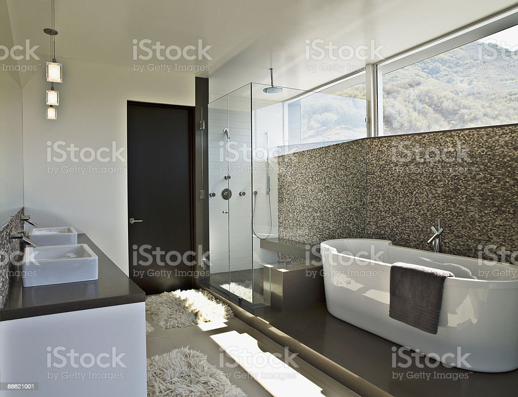 Modern bathroom with soaking tub royalty-free stock photo