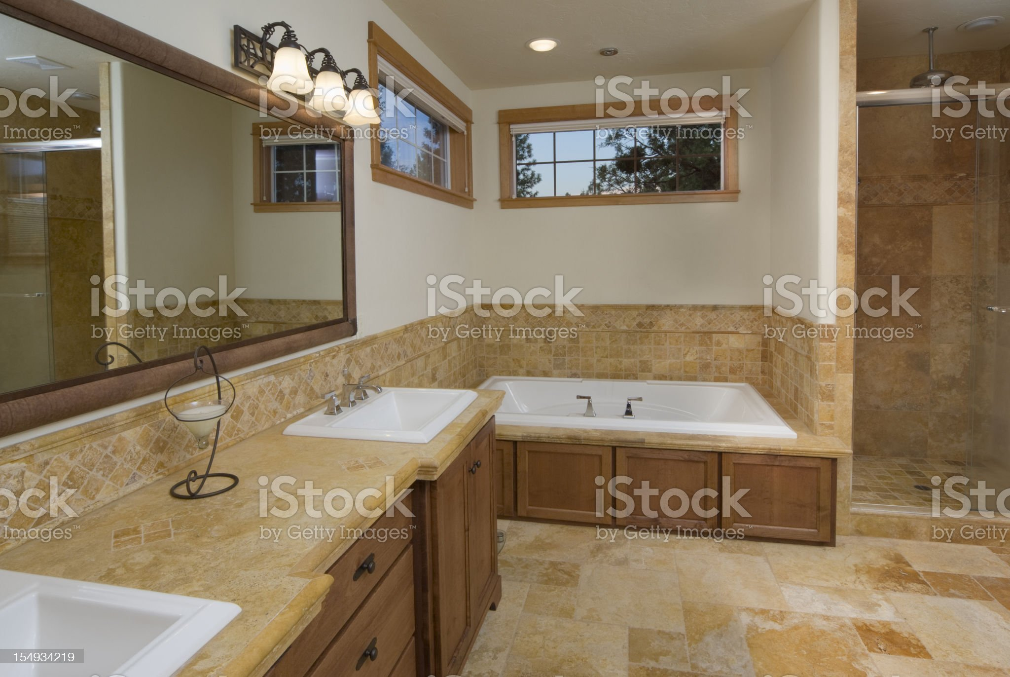 Modern bathroom with sunken bathtub royalty-free stock photo