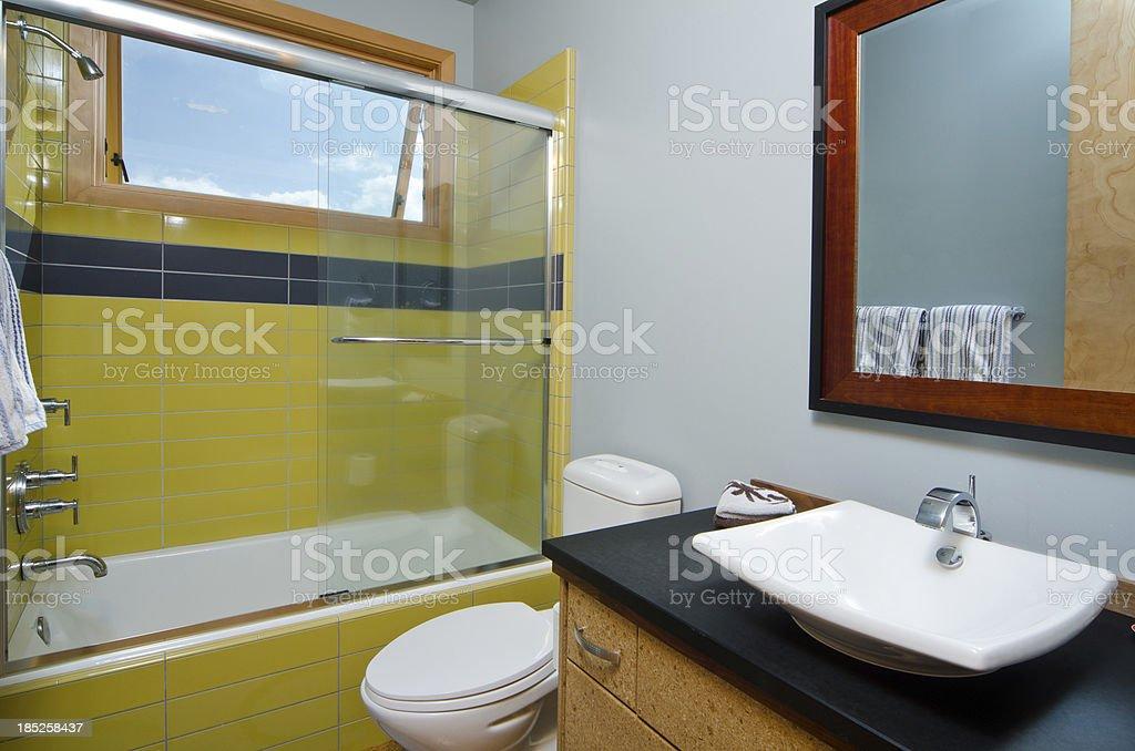 Modern bathroom with tub stock photo