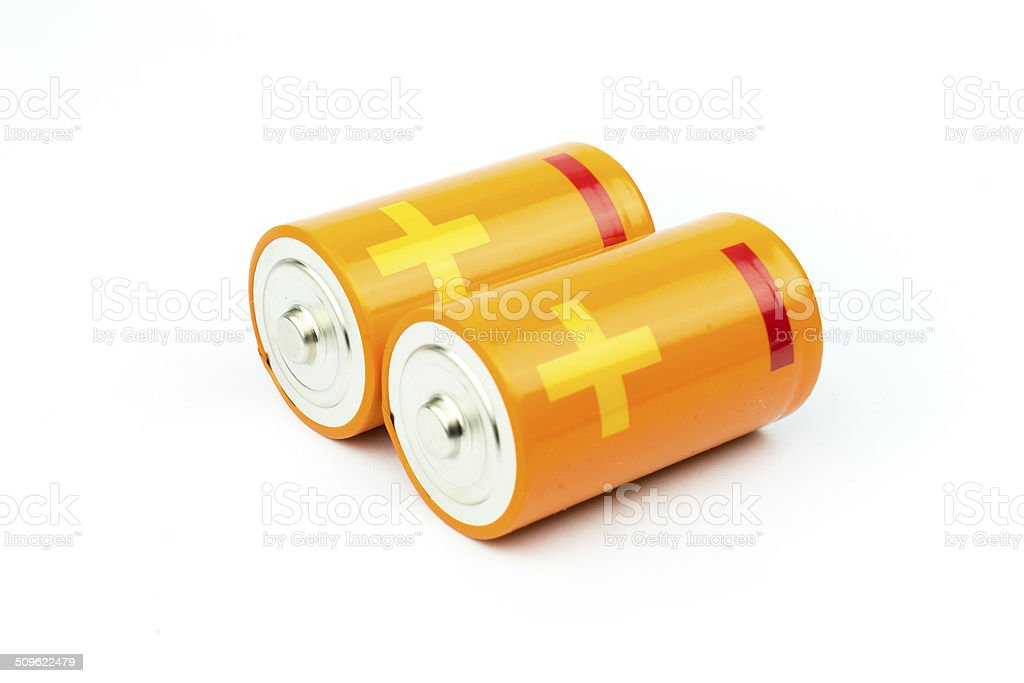 Modern battery aa, aaa alkaline cadmium chemical on white background stock photo
