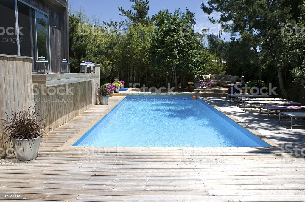 Modern Beach Architecture: Deck With a Pool stock photo