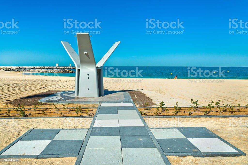 modern Beach Shower, Dubai stock photo
