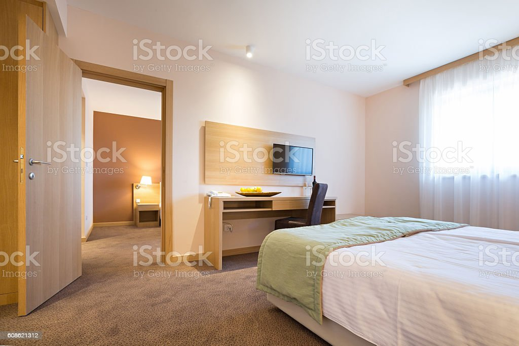 Modern beautiful hotel bedroom interior stock photo