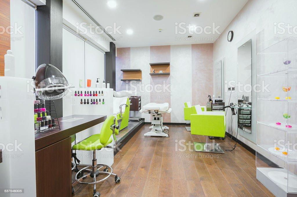 Modern beauty salon interior stock photo