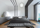 Modern bed in the bedroom, the contemporary style.