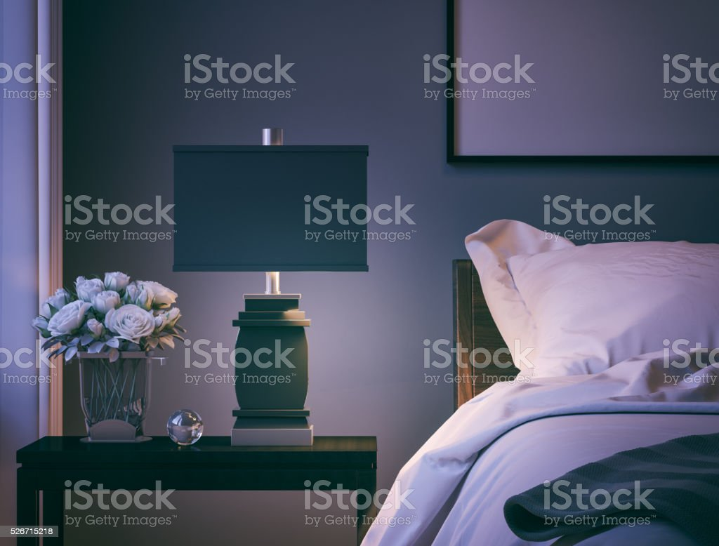 Modern Bedroom closeup stock photo