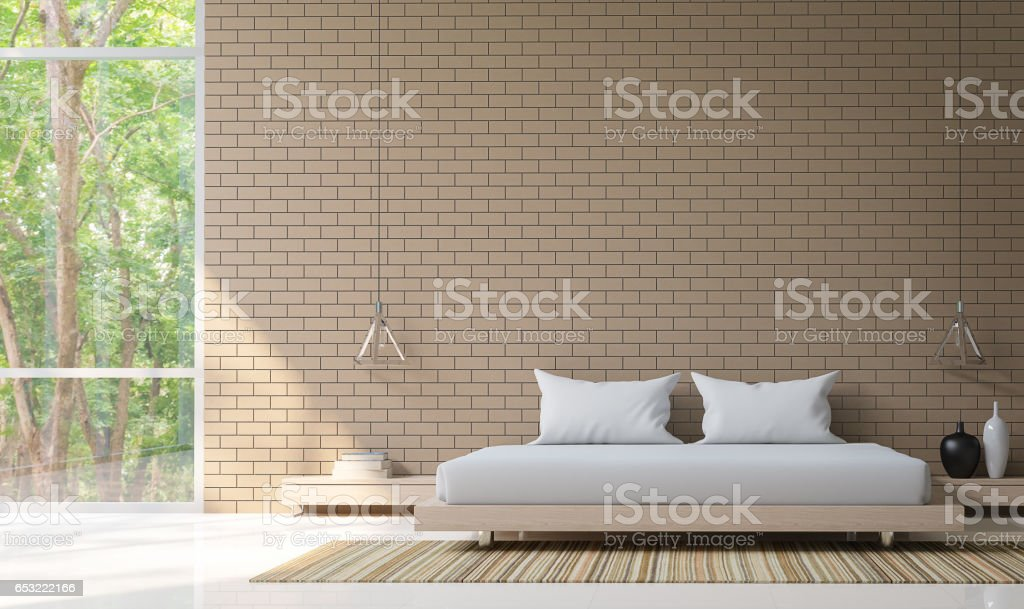 Modern Bedroom Decorate Wall With Brick 3D Rendering Image stock photo