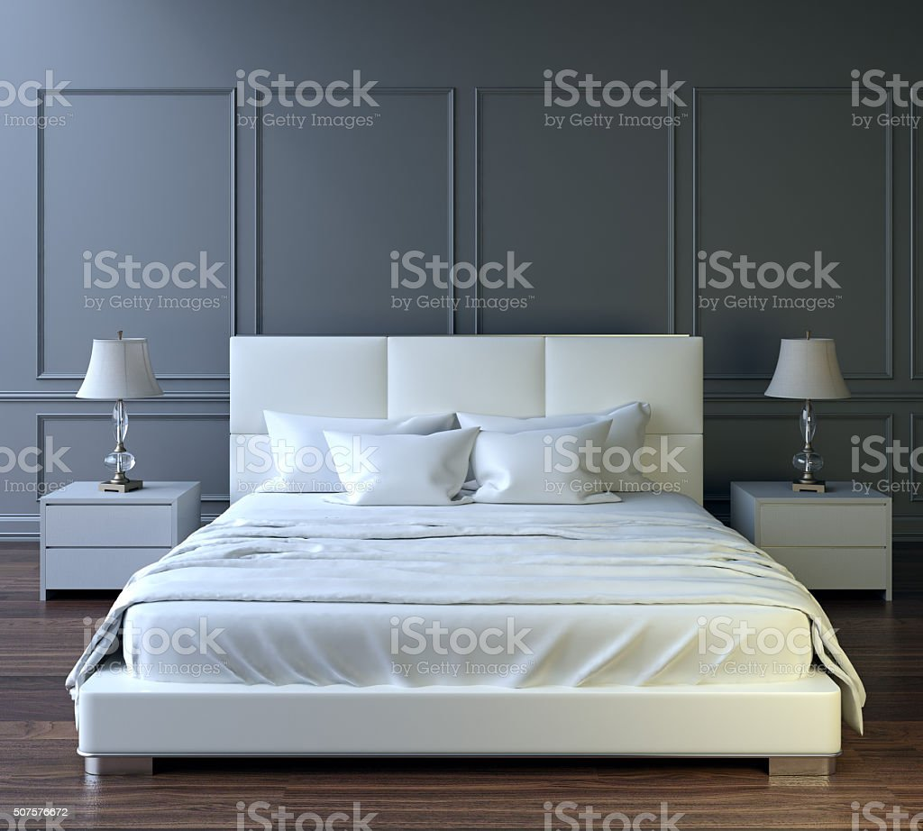 Modern bedroom design stock photo