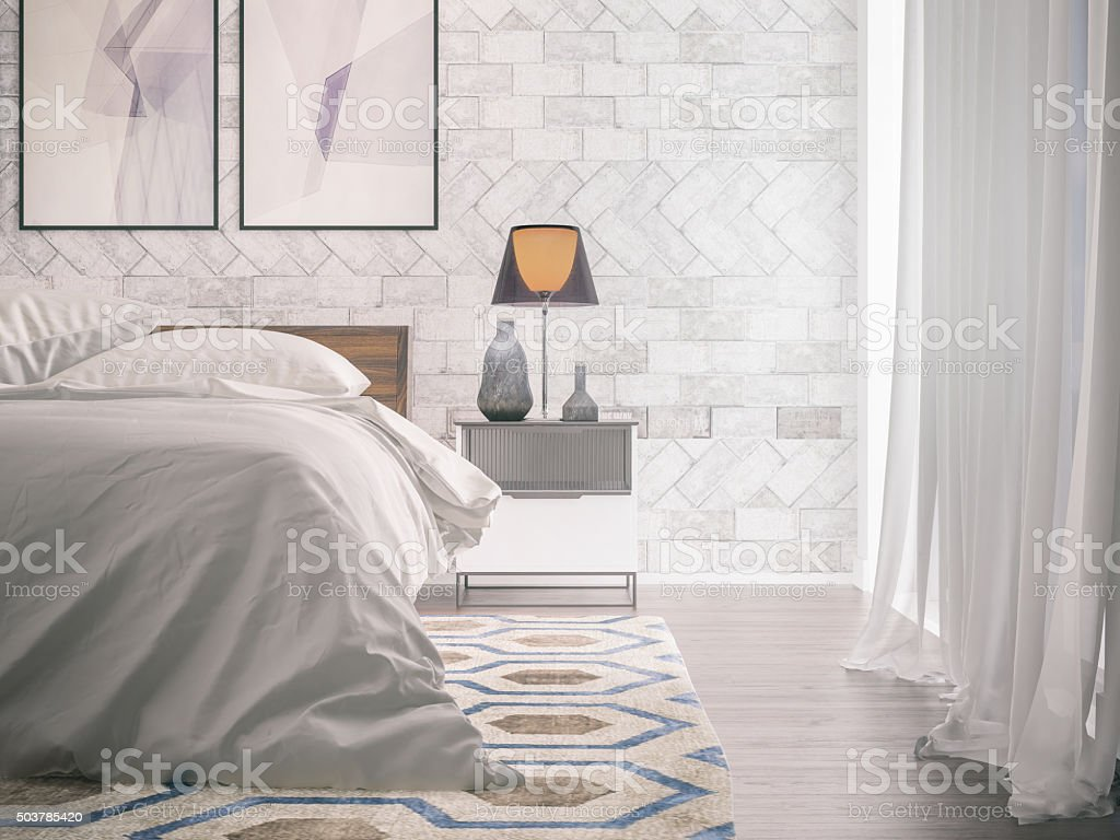 Modern bedroom - detail stock photo