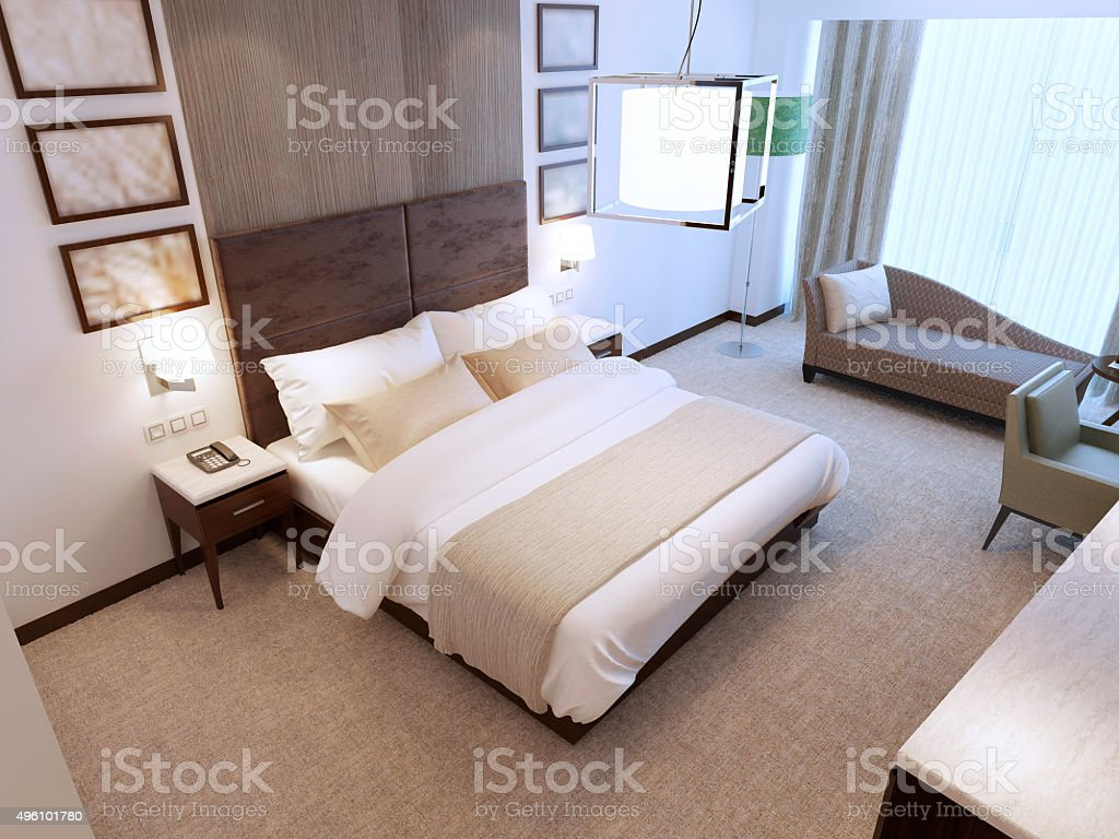 Modern bedroom in daylight stock photo