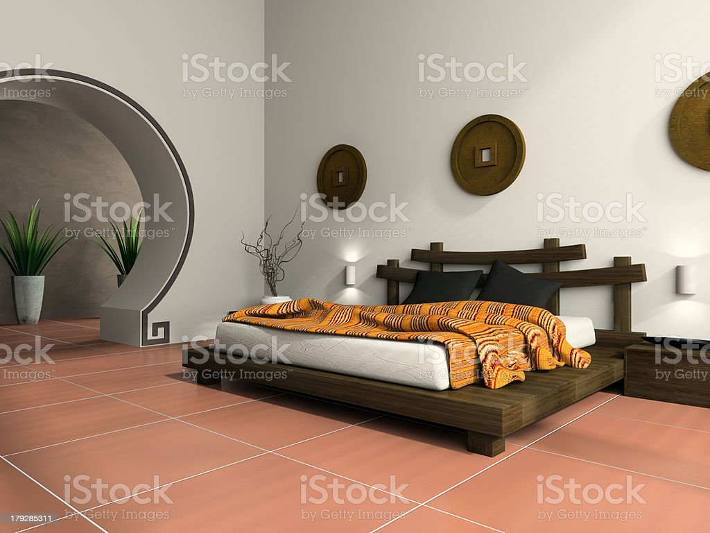 Modern bedroom in  ethnic style royalty-free stock photo