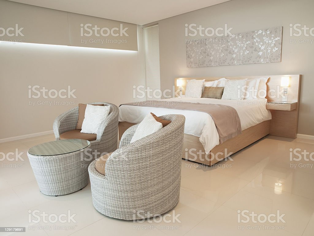 Modern bedroom in luxurious apartment royalty-free stock photo