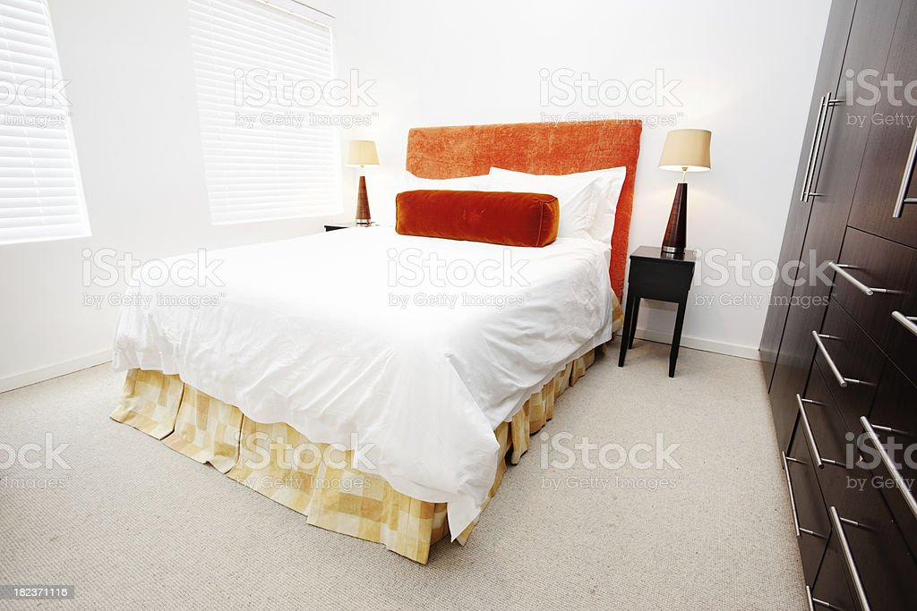Modern bedroom in show home royalty-free stock photo