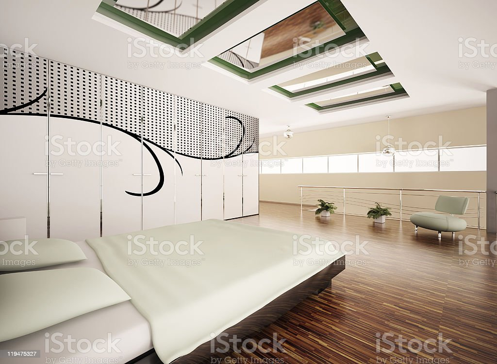 Modern bedroom interior 3d render royalty-free stock photo