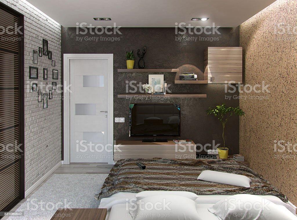 Modern bedroom interior, 3d rendering stock photo