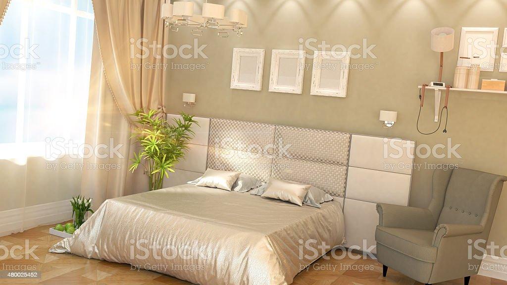 Intérieur moderne d'une chambre à coucher photo libre de droits