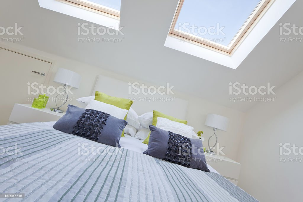 Modern bedroom loft royalty-free stock photo