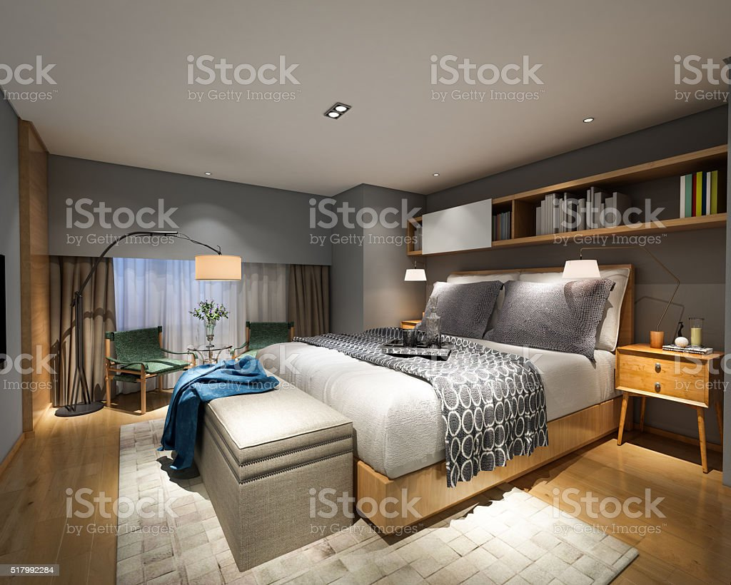 Modern Bedroom Style Interior stock photo