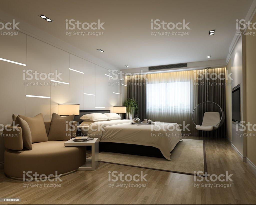 Modern Bedroom Style Interior stock photo